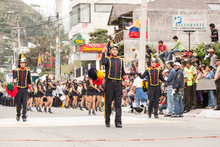 festival moment: Banos De Agua Santa, Ecuador - 26 July 2015: Summer Break Is Marked By The Festivity Put Together By The School Students In Banos De Agua Santa On July 26, 2015
