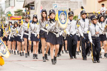 school band: Banos De Agua Santa, Ecuador - 26 July 2015: School Band At The Summer Break Festivity In Banos De Agua Santa On July 26, 2015 Editorial