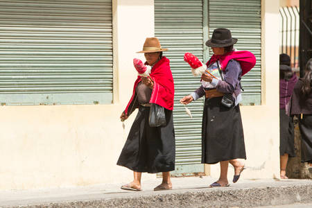 indios: Salasaca, Ecuador - 24 January 2014: Women Spinning Alpaca Wool As Their Second Nature While Walking On The Streets In Salasaca On January 24, 2014