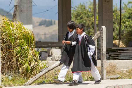 quechua: Salasaca, Ecuador - 24 January 2014: Students Wearing Quechua Traditional Clothing In Salasaca On January 24, 2014