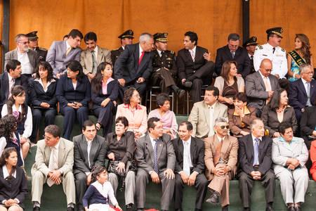attending: Banos De Agua Santa, Ecuador - 26 July 2015: Banos De Agua Santa City Officials Attending Summer Break Ceremony In Banos De Agua Santa On July 26, 2015