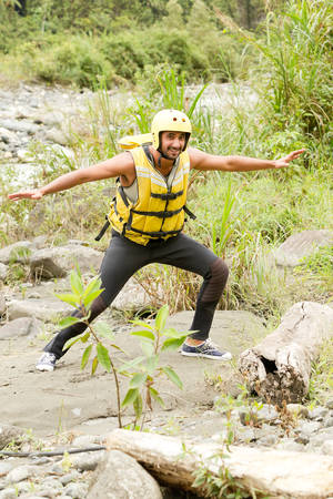persevere: Adult Man Wearing Typical Water Sport Outfit