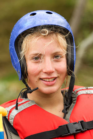 girl sport: Adult Woman Wearing Typical Water Sport Outfit Stock Photo
