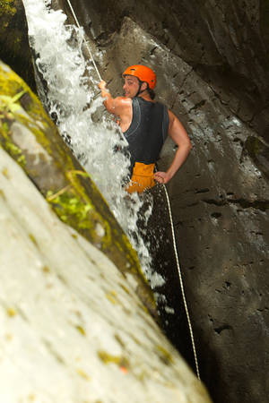rappel: Canyoning On Pucayacu River Canyon Near Banos Ecuador