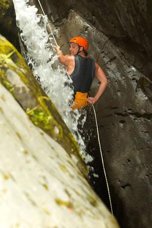 rappel: Canyoning On Pucayacu River Canyon Near Banos Ecuador
