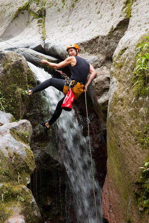 Canyoning On Pucayacu River Canyon Near Banos Ecuador