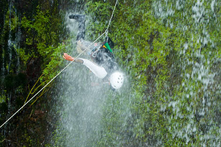 rappel: Accident During Canyoning On Pucayacu River Canyon Near Banos Ecuador Stock Photo