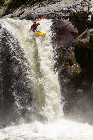kayaker: Waterfall Kayak Jump Sangay National Park Ecuador