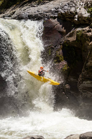 Waterfall Kayak Jump Sangay National Park Ecuador
