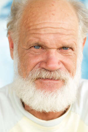 man with beard: Close Up Portrait Of A Senior White Hair Man With Blue Eyes