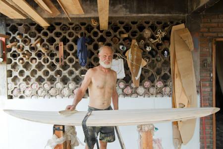 balsa: Old Man Making Balsa Surfboard In Ecuador