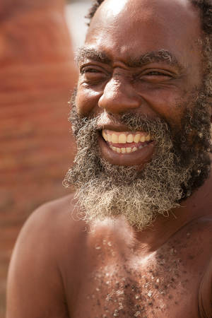 interesting: Afro American Senior Man With Big Smile On His Face
