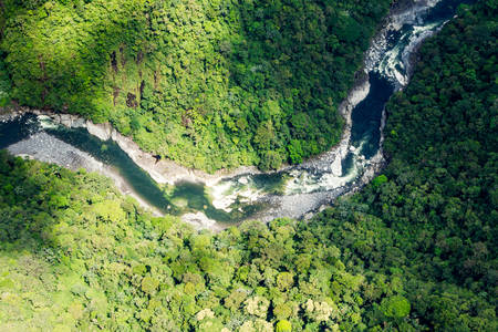 river banks: Clear Green Water Of Pastaza River In Ecuadorian Andes Aerial Shot