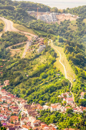 brasov: Brasov Romania City Expansion Aerial View
