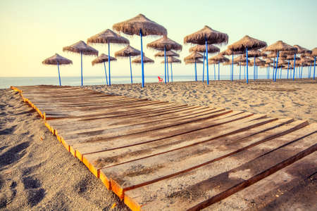 costal: Mediterranean Beach In Early Morning Light Torre Del Mar Andalusia Spain