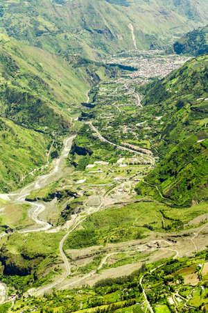 altitude: Banos De Agua Santa Valley In Tungurahua Province Ecuador High Altitude Aerial Shot