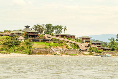 tropical evergreen forest: Amazonian Lodge On Napo River In Ecuador
