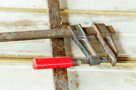 balsa: Carpentry Press Mounted On Balsa Planks This Tool Is Used To Keep The Planks In Position For Soldering Stock Photo