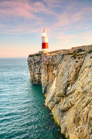 spain: High Ground Trinity Lighthouse Of Gibraltar Beaconing In The Sunset