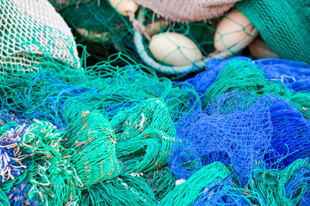 buoys: Multicolor Fishing Nests And Buoys In Harbor Area