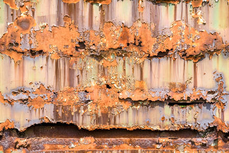 wagon: Detail From A Wall Of A Wagon Train Covered With Rust Daylight Close Up The Damage Produced By Rust Over The Time