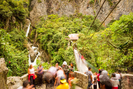 diablo: Pailon Del Diablo Waterfall And Observation Balcony Filled With Tourists Long Exposure