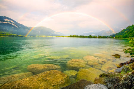 tripod mounted: Double Rainbow Over The Lake Wide Angle Lens Tripod Mounted And Polarizing Filter