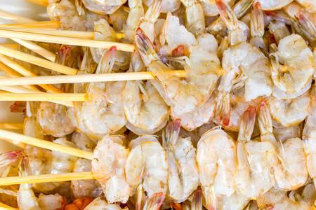 prepared: Shrimp Fresh Skewers Prepared To Be Grilled