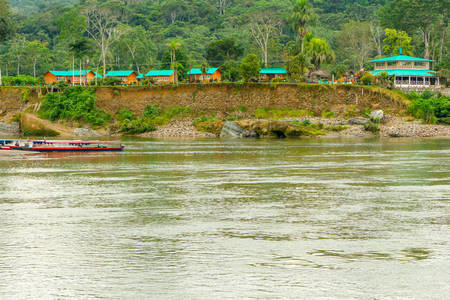 humid south: Amazonian Lodge On Napo River In Ecuador