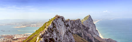 meteorological: Gibraltar Rock Summit Panorama View Of Cable Car Station And Meteorological Station Stock Photo