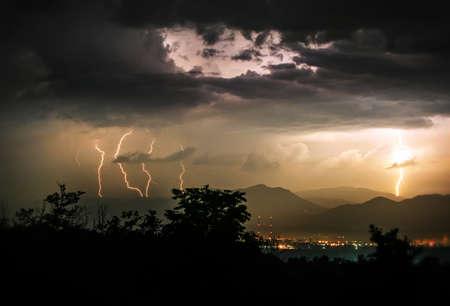 phenomena: Unique Moment In Life Storm With Five Lightning In The Night Rare Phenomena Stock Photo