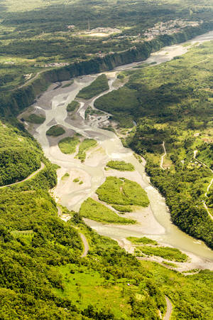 amazon river: Pastaza River Entering The Province With The Same Name High Altitude Aerial Shot