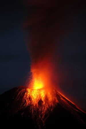 strombolian: Tungurahua Volcano Eruption 29 11 2010 Ecuador South America 4Am Local Time Stock Photo