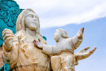 mirador: Mirador De La Virgin Impressive Monument In Banos Ecuador