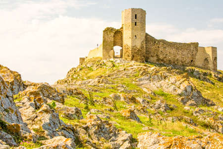 dun: Medieval Fortress Located In Dobrogea East Of Romania Cloudy Weather Medium Telephoto Lenses Stock Photo