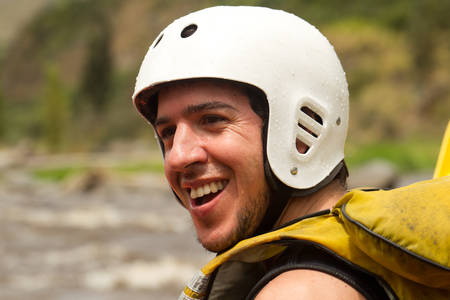 neoprene: Adult Man Face Close Up Wearing Neoprene Wet Suit