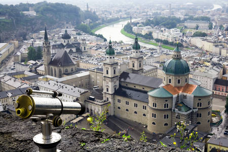 suggesting: Overview From City Fortress Included Telescope Suggesting Travel Destination High Angle Shot Standard Polarized Lenses Stock Photo