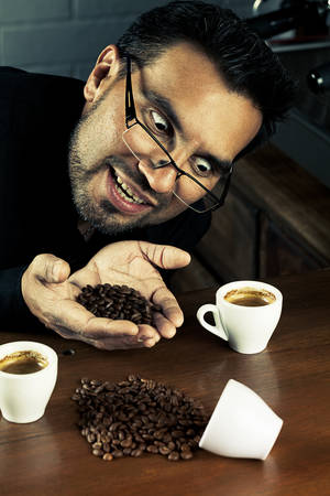 exaggerate: Coffee Sommelier In A Funny Pose Over Processed To Exaggerate The Crazy Pose