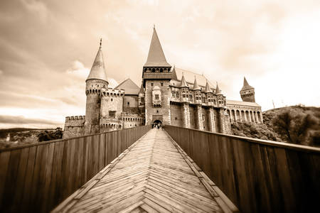 dracula: It Is Believed To Be The Place Where Vlad Iii Of Wallachia Commonly Known As Dracula Was Held Prisoner Located In Hunedoara City Wide Angle Lens On Tripod Mounted Camera