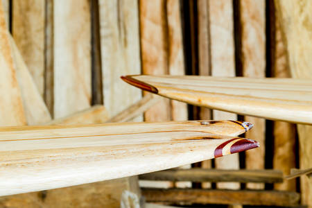 balsa: Surfboard Workshop Balsa Wood And Finished Boards Stock Photo