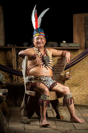 amazonia: Shaman In Ecuadorian Amazonia During A Real Ayahuasca Ceremony Model Released Image As Seen In April 2015