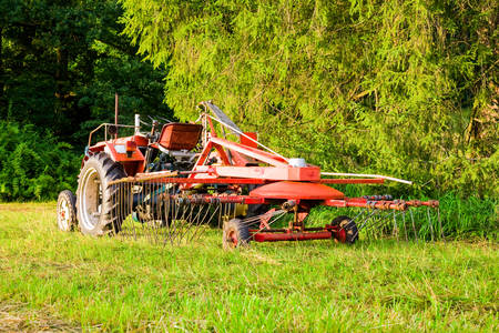 agronomics: Large Industrial Tractor In He Field