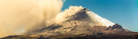 rarity: Dramatic Panorama With Cotopaxi Volcano Eruption In 2015 Large Quantity Of Ash Is Blown Into The Sky