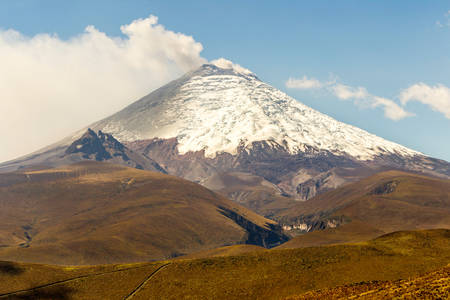 rarity: South Side Of Cotopaxi Volcano During 2015 Eruption Vapors Of Water And Ash Blowing Into The Sky