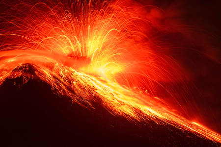 tungurahua: Close Range Long Exposure Of Tungurahua Volcano Night Shot Stock Photo