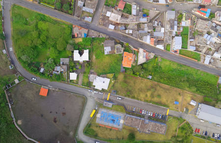 foothill: Aerial city view of Urban landscape In Banos