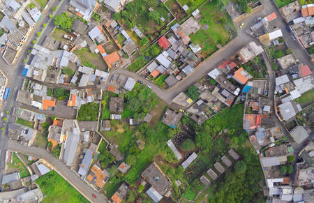city road: Urban Rooftops, aerial view In Banos de Agua Santa