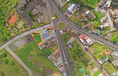 paso de peatones: Aerial view of small suburban latin America town