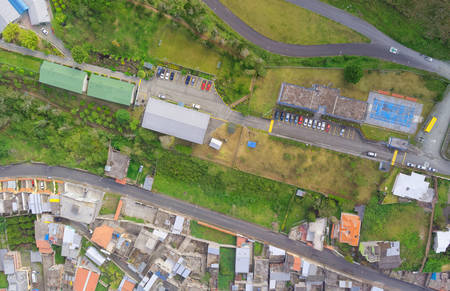 electric avenue: Aerial view of compact neighborhood In Banos