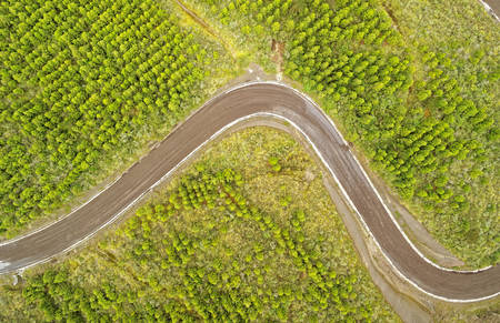 Aerial View Curved Road Cotopaxi Ecuador 版權商用圖片